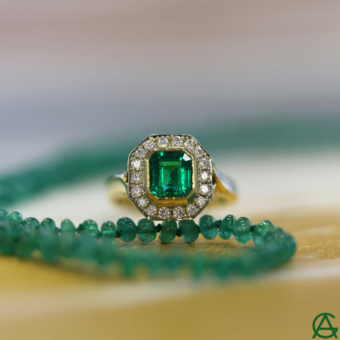 Goldart Emerald and Diamond Evening Ring and Emerald Beads