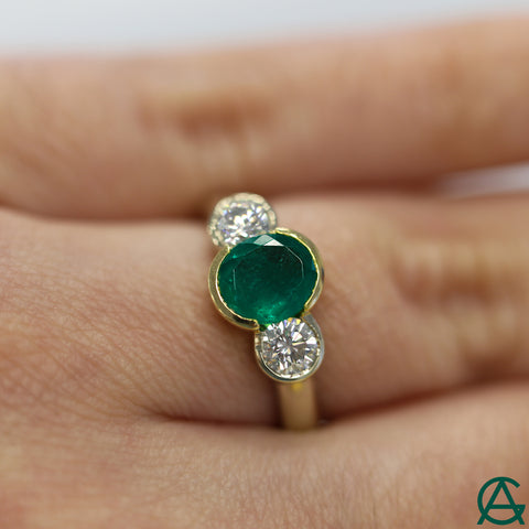 Goldart Emerald and Diamond Three Stone Engagement Ring