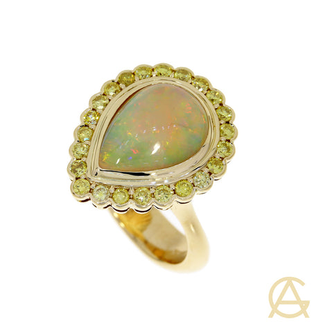 Ethiopian Opal Natural Yellow Diamond Ring