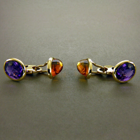 Amethyst and Citrine Cufflinks