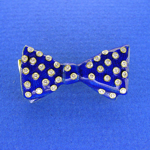 French Enamel Bowtie Brooch