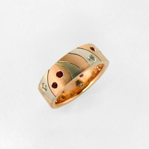 Red Gold and Platinum Wedding Band