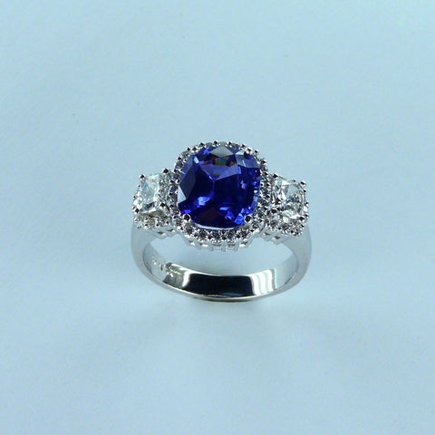 Three Stone Sapphire and Diamond Ring with Diamond Halos
