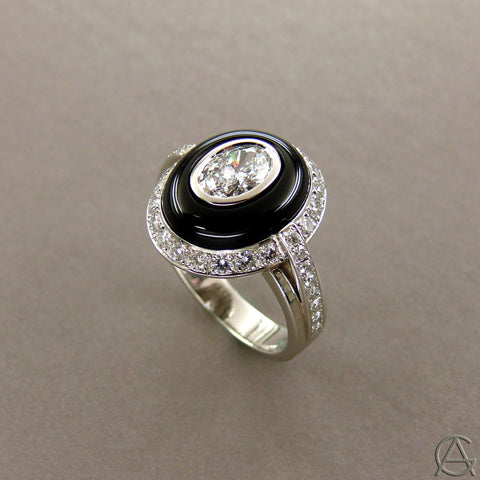 Diamond and Onyx Platinum Ring