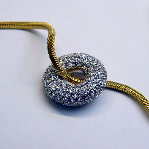 White Diamond Donut Pendant