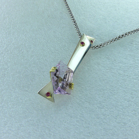 Custom Concave Cut Amethyst and Ruby Pendant
