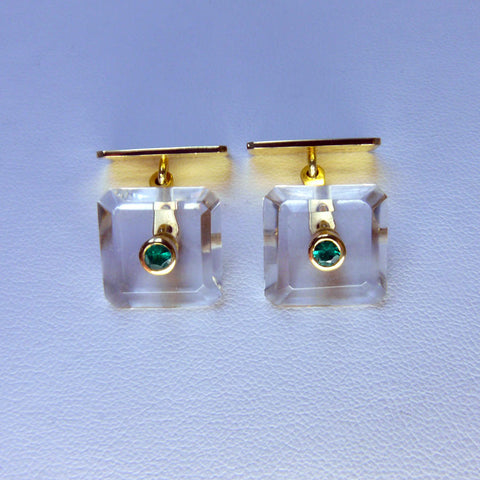 Rock Crystal and Emerald Cufflinks