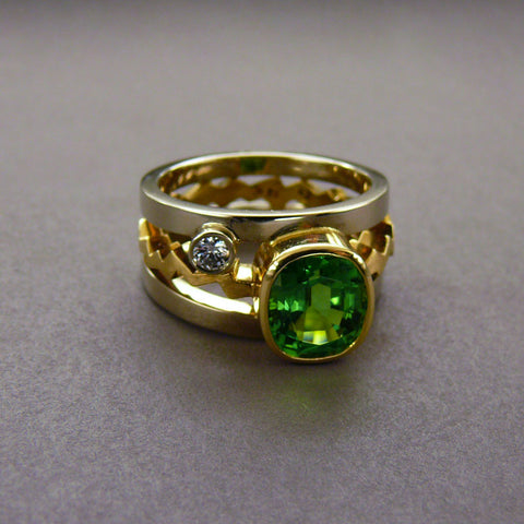 Green Zircon and Diamond Ring