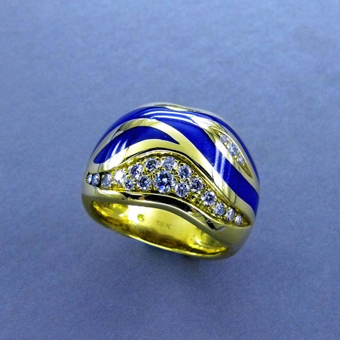 French Enamel and Diamond Band