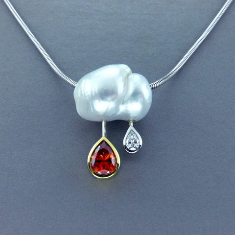 Natural Orange Zircon, Diamond and Natural Pearl Pendant