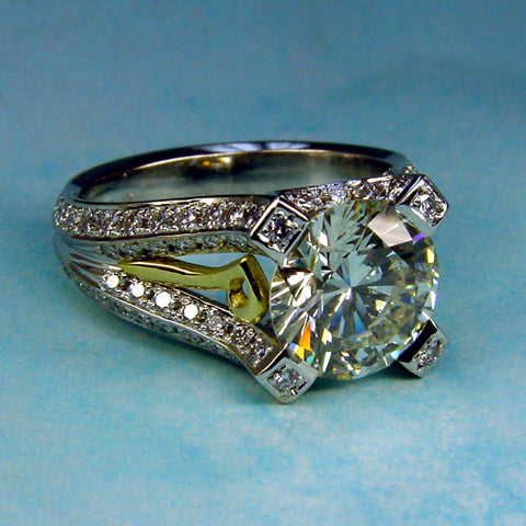 Custom made Hand-fabricated Diamond Ring