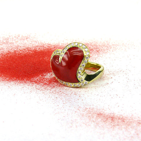 French Enamel and Diamond Heart Ring