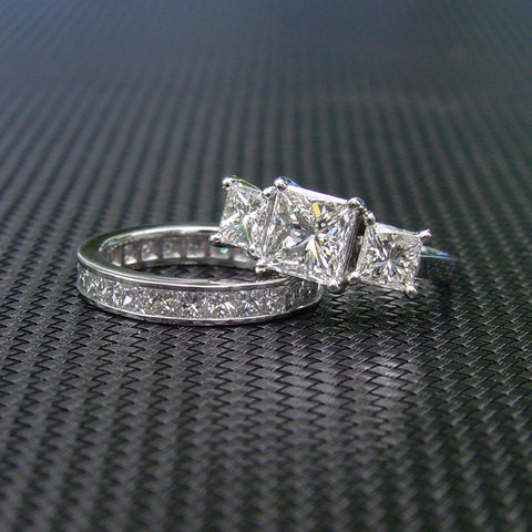 Diamond Engagement Ring and Matching Diamond Wedding Band