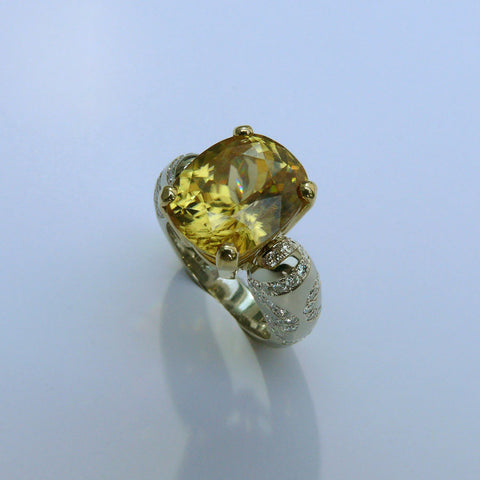 Natural Yellow Zircon Ring