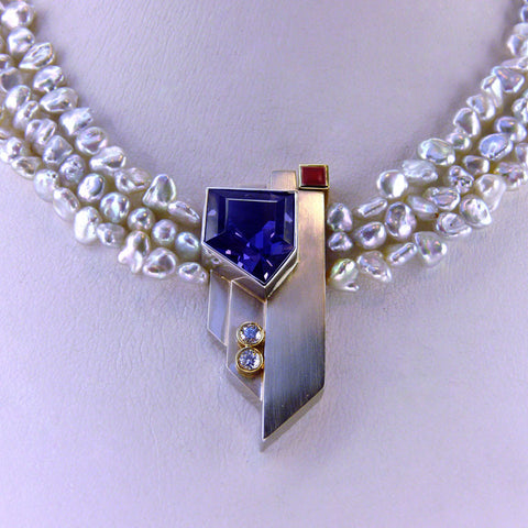 Art Deco Inspired Iolite Pendant