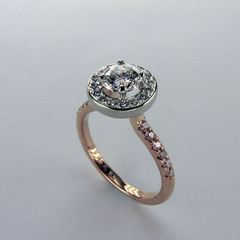 White and Pink Diamond Halo Engagement Ring