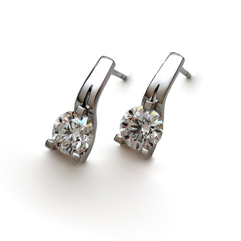 Three Claw Diamond Earrings
