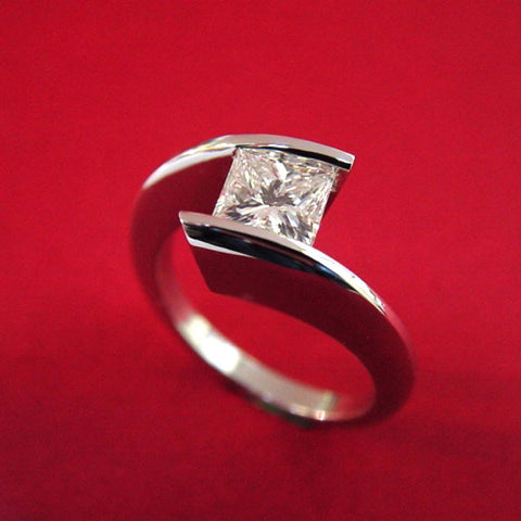 Princess Cut Diamond Tension Set Engagement Ring