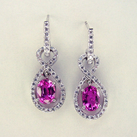 Classic Natural Pink Sapphire and Diamond Earrings