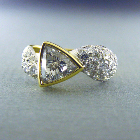 Trillion Cut Diamond and Round Diamond Ring