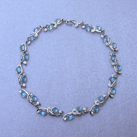 Art Nouveau Moonstone and Diamond Necklace