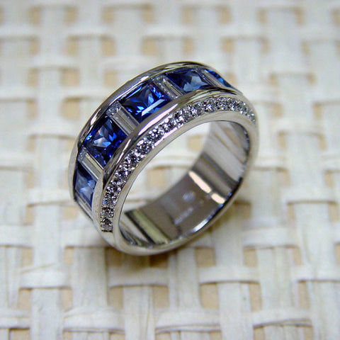 Eternity Sapphire and Diamond Band