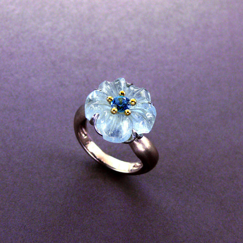 Carved Aquamarine Flower and Blue Sapphire Ring