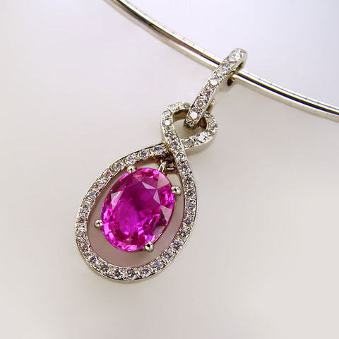 Classic Natural Pink Sapphire and Diamond Pendant