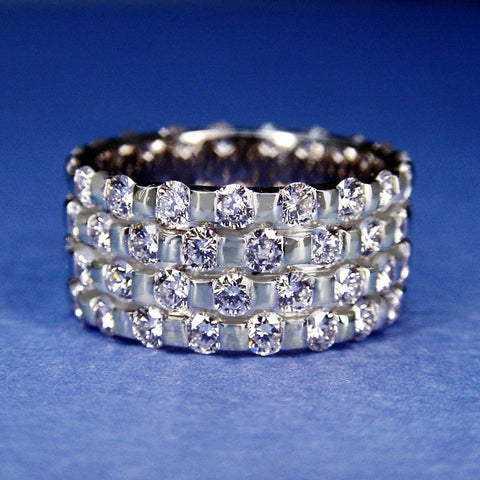 Four Row Diamond Eternity Band