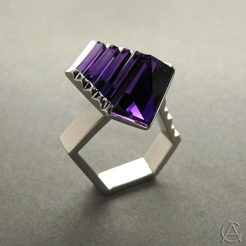 Fantasy Cut Amethyst Ring