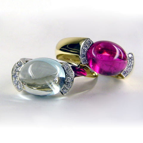 Cabochon and Diamond Rings