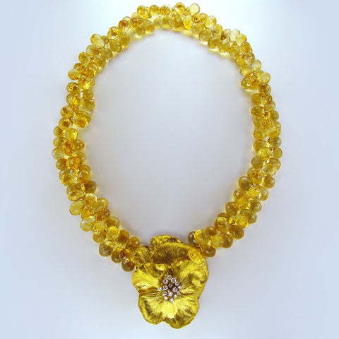 Gold Pansy and Citrine Collier