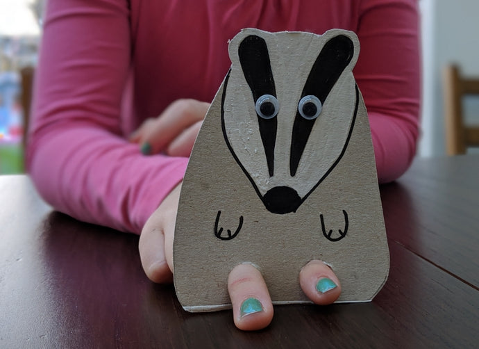 10 minute craft activity: make a badger puppet