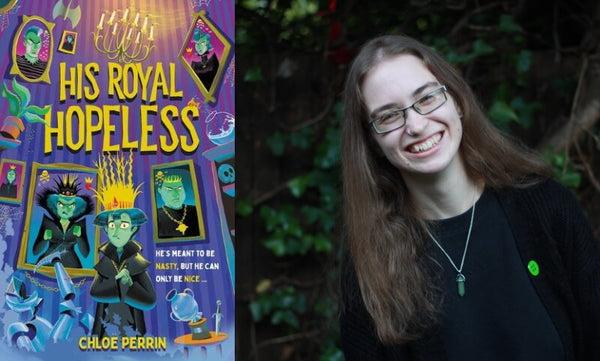 His Royal Hopeless by Chloe Perrin. Book cover and author photo.