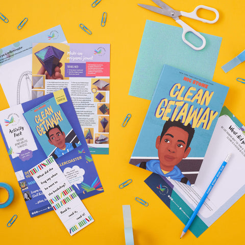 Example book and pack from our kids subscription box