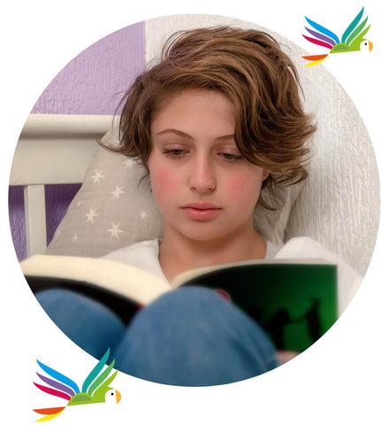 Girl reading young adult book