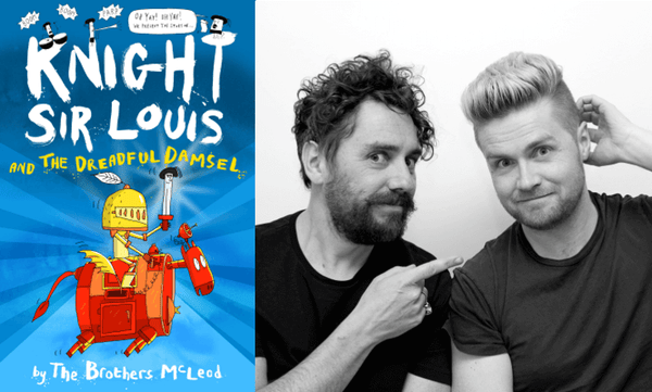Knight Sir Louis and the Damsel in Distress by The Brothers McLeod. Book cover and author photograph.