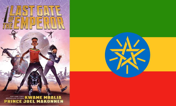 Last Gate of the Emperor book cover and Ethiopian flag.