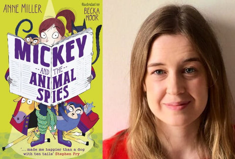 Mickey and the Animal Spies book cover and author Anne Miller who talks about detective stories for kids.
