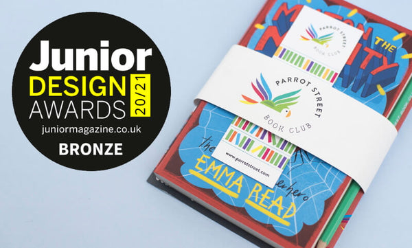 A Parrot Street Book Club pack and the Junior Design Awards winner badge