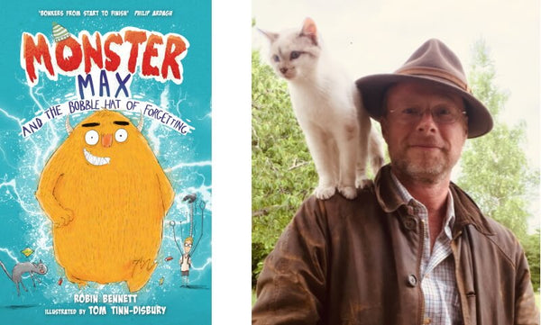 Monster Max and the Bobble Hat of Forgetting by Robin Bennett. Book cover and author photograph.