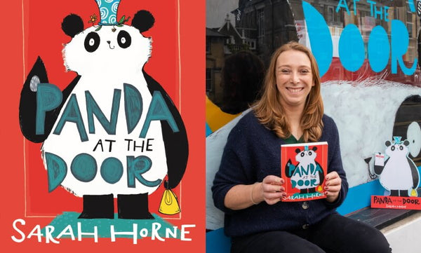 Panda at the Door by Sarah Horne. Book cover and author photograph.