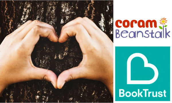 Hands making a heart showing support of Coram Beanstalk and Book Trust, UK literacy charities who's logos are featured
