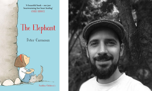 The Elephant by Peter Carnavas. Book cover and author photo.