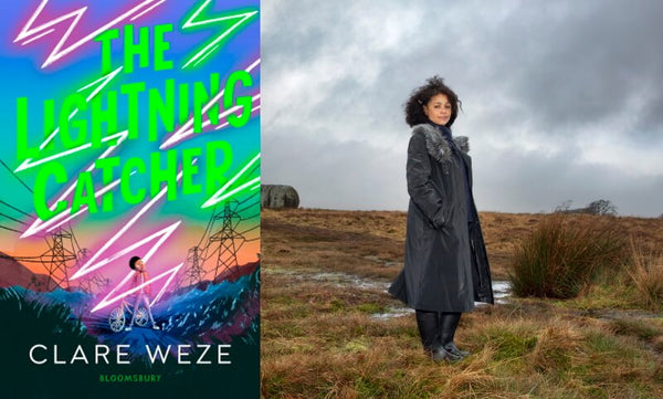 The Lightning Catcher by Clare Weze. Book cover and author photograph.