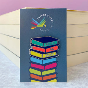 "Enamel ""Hooked on Books"" pin badge perfect gift for kids who love to read"