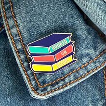 "Load image into Gallery viewer, Enamel ""Hooked on Books"" pin badge perfect gift for kids who love to read"