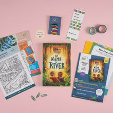 Load image into Gallery viewer, My Name is River book gift set including activities, pin and bookmark.