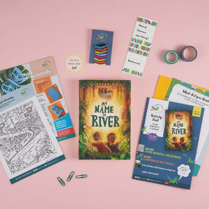 My Name is River book gift set including activities, pin and bookmark.