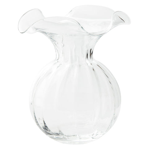 HIBISCUS GLASS CLEAR LARGE FLUTED VASE